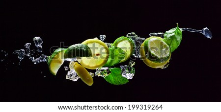 lime and lemon pieces with leaves of mint  - stock photo