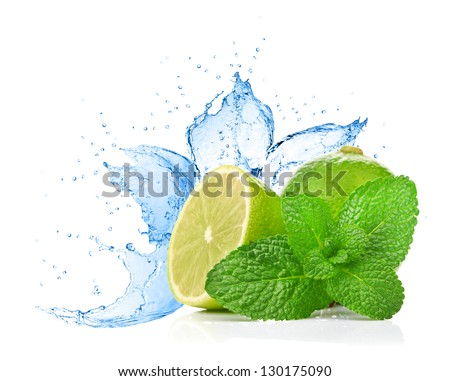 lime and mint on water splash - stock photo