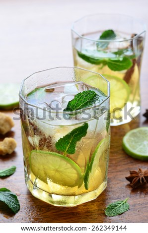 Lime cocktail with mint, vertical, selective focus  - stock photo