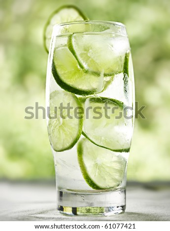 lime drink with ice - stock photo