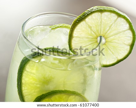 lime drink with ice closeup - stock photo