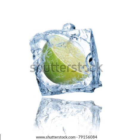 Lime frozen in ice cube - stock photo