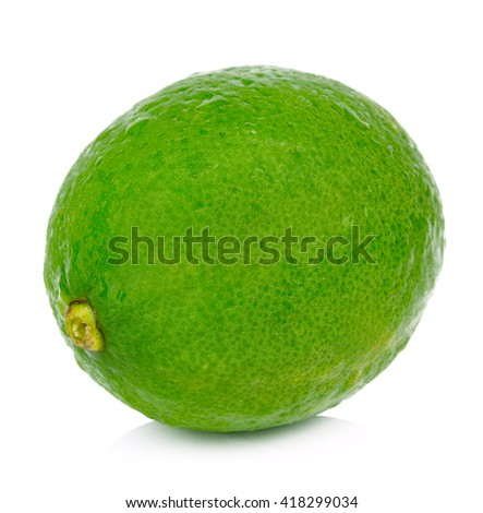 lime fruit isolated closeup on white background