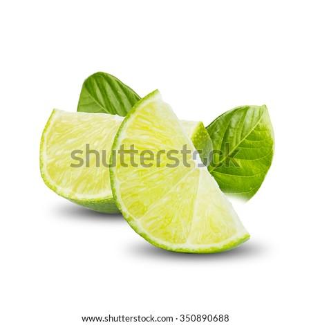 Lime Fruit On White Background - stock photo