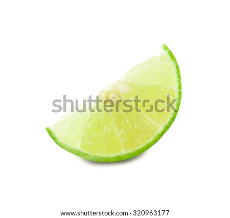 lime fruit segment isolated on white background cutout