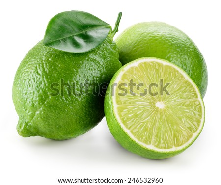 Lime. fruit with a half isolated on white - stock photo