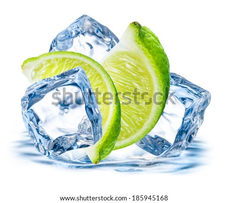 Lime fruit with ice isolated on white background