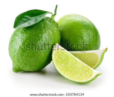 Lime. fruit with slices isolated on white - stock photo