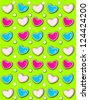 Lime Green background has 3D hearts surrounded by tiny, cream colored pearls.  White polka dots are outlined in blue and pink. - stock photo