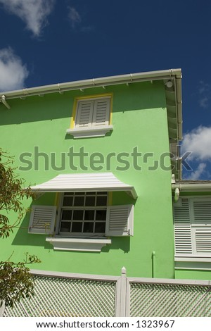Lime Green Barbados House - stock photo