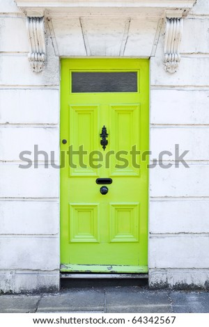 Lime Green Front Door of a London Town House - stock photo