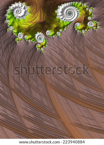 Lime green heart on chocolate brown design background - fractal Valentine´s day card - stock photo