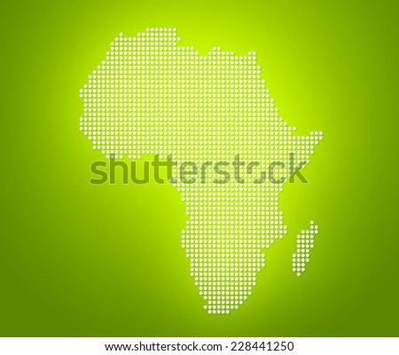 Lime green image of modern optimally dotted Africa map illustration - stock photo