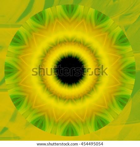 Lime green lemon yellow black center hole kaleidoscope twist twirl spin detailed pattern design background backdrop - stock photo