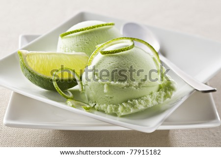 Lime ice cream on a plate close up shoot - stock photo