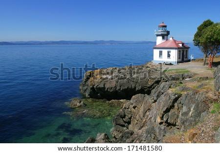 Lime Kiln Lighthouse, San Juan Islands, Washington - stock photo