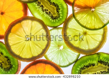 lime, lemon, kiwi and orange slices - stock photo