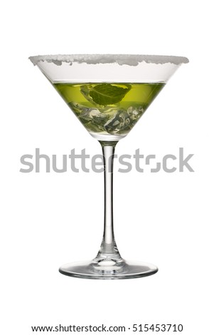 Lime martini cocktail isolated on white background