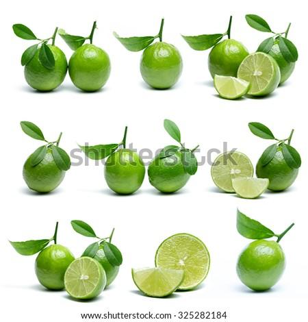 Lime on white background. - stock photo
