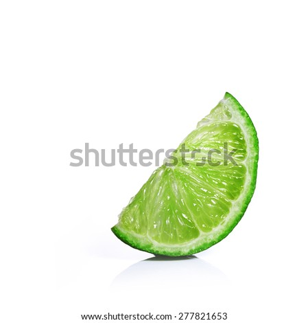 Lime or lemon slices isolated on white background