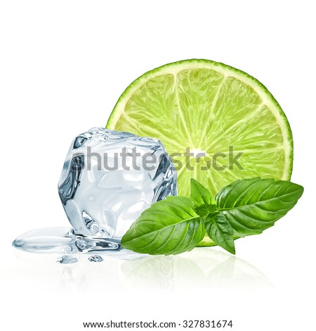 Lime slice and ice with basil leaves isolated on white background - stock photo