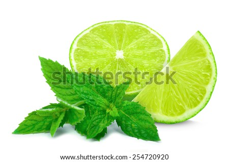 lime slices and mint leaves isolated on white - stock photo