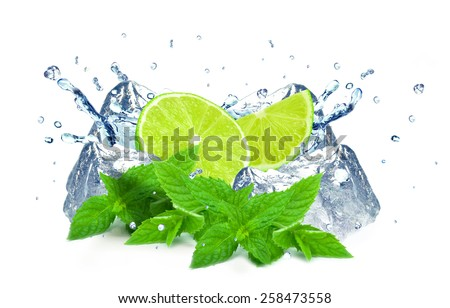 lime slices, mint, ice cube  and water splash isolated on white - stock photo