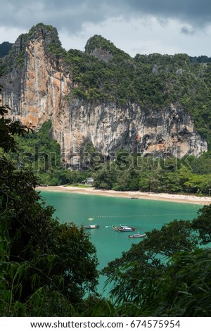 Lime Stone Formations and Beach seen from Rock Climbing View Point, Railay Beach, Krabi, Thailand