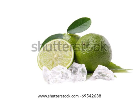 Lime with leaves on a white background - stock photo
