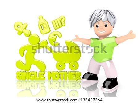 Limerick  funny cartoon 3d graphic with happy single mother symbol  with cute 3d character - stock photo