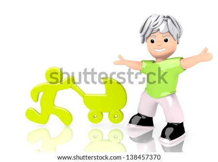 Limerick  happy parent 3d graphic with funny baby buggy symbol  with cute 3d character - stock photo