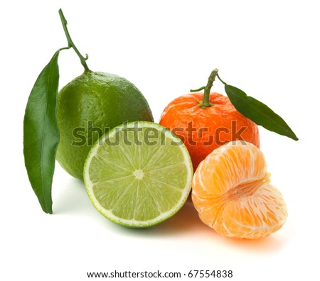 Limes and tangerines. Isolated on white background - stock photo