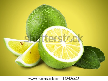 Limes on Coloured Background