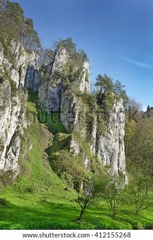 Limestone cliff of Ojcow National Park near Krakow in Poland - stock photo