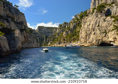 limestone cliffs in a calanque near Cassis France  - stock photo