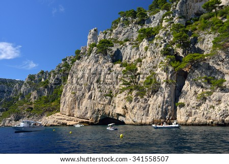 limestone cliffs in a calanque near Cassis France