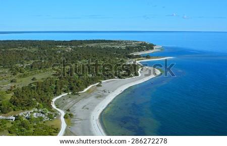 Limestone coastline on eastern part of Gotland island in Sweden - stock photo