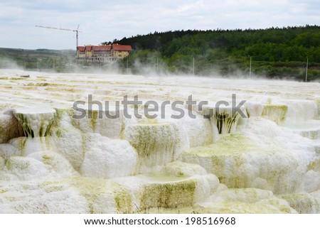Limestone hill at Egerszalok  - stock photo