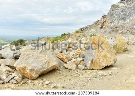 Limestone in the development of rock, Cambodia. - stock photo