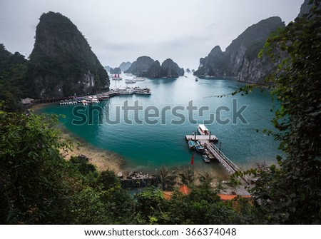 Limestone mountains in Ha Long bay, Vietnam - stock photo