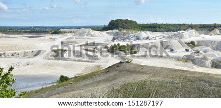 Limestone quarry in Faxe, Denmark. Panorama showing the quarry and the machinery