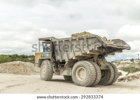 Limestone quarry industry, summer, Ukraine - stock photo