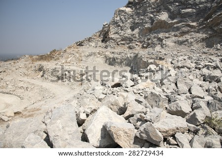 Limestone quarry on the mountain, Vintage tone.