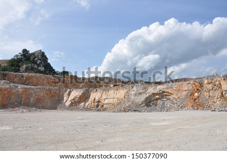 Limestone quarry, Open pit mine in Thailand - stock photo