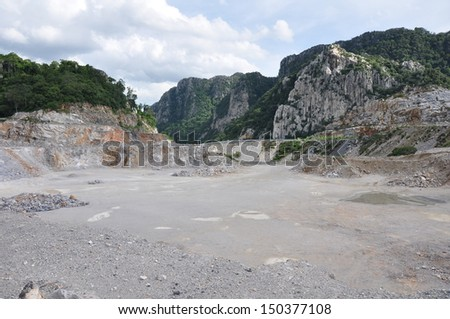 Limestone quarry, Open pit mine in Thailand - stock photo