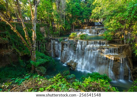 Limestone waterfall in tropical forests ,Thailand
