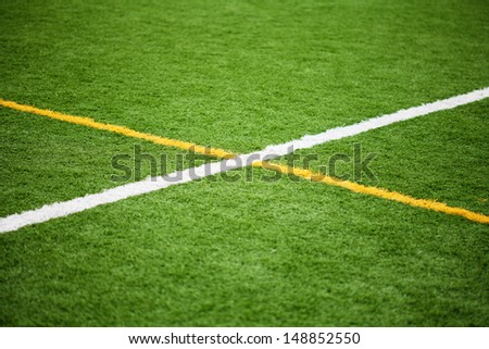 Limit lines of a sports grass field for Background. White and Yellow lines. Selective Focus. - stock photo