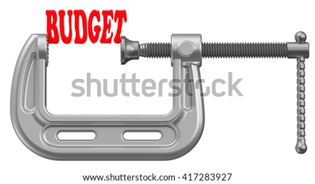 Limited budget. Red word budget is squeezed by the clamp.  Financial concept. Isolated. 3D Illustration