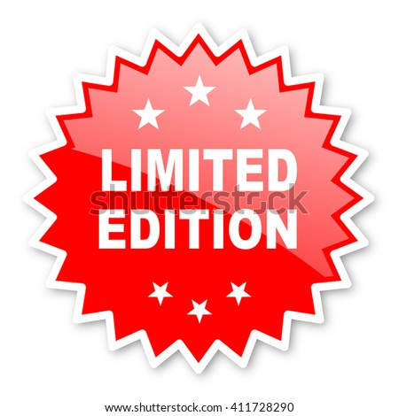 limited edition red tag, sticker, label, star, stamp, banner, advertising, badge, emblem, web icon - stock photo