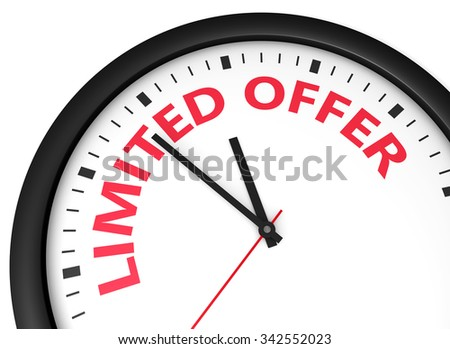 Limited offer conceptual image with a wall clock and sign printed in red.